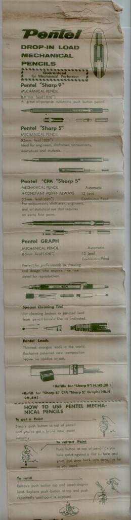 Pentel Instruction Sheet
