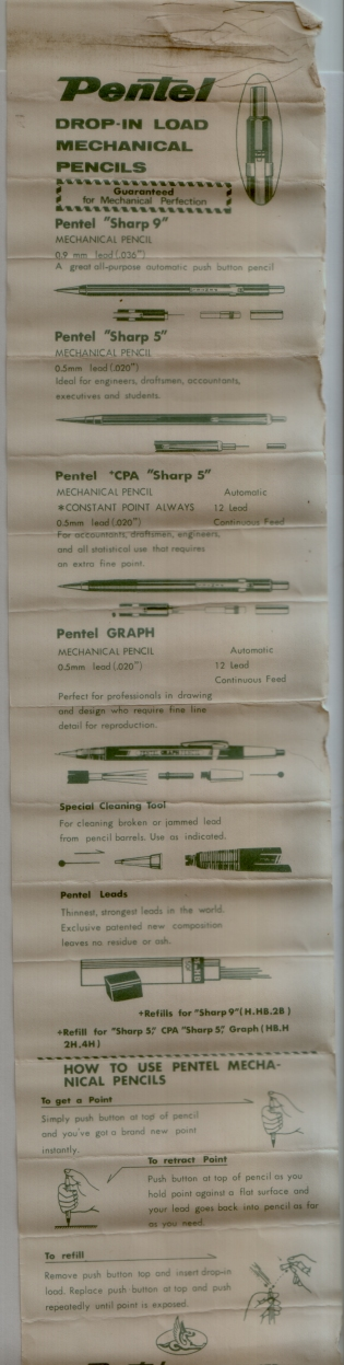 Pentel Instruction Sheet